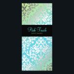 "311 Dazzling Damask Turquoise &amp; Lime Black Rack Card<br><div class=""desc"">Design by Jill McAmis,  copyright 2010.</div>"