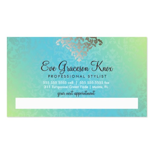 311 Dazzling Damask Turquoise & Lime Business Card Templates (back side)