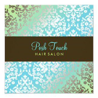 311 Dazzling Damask Turquoise & Lime Card