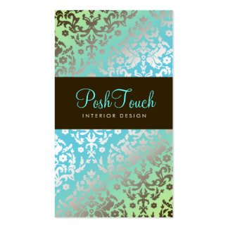 311 Dazzling Damask Turquoise & Lime Double-Sided Standard Business Cards (Pack Of 100)