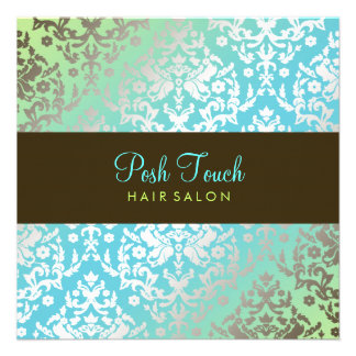 311 Dazzling Damask Turquoise Lime Custom Announcement