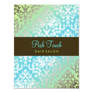 311 Dazzling Damask Turquoise & Lime 4.25x5.5 Paper Invitation Card