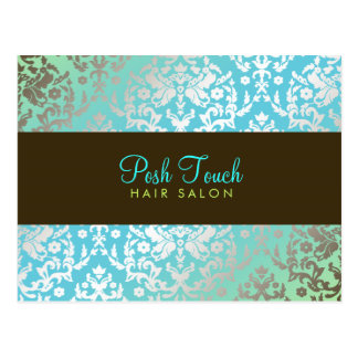 311 Dazzling Damask Turquoise & Lime Postcard