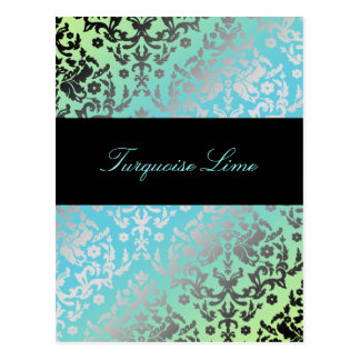 311 Dazzling Damask Turquoise LIme Postcard