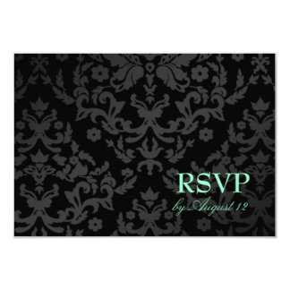 311 Dazzling Damask Turquoise RSVP Small Card