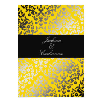 311 Dazzling Damask Yellow Black Band Card