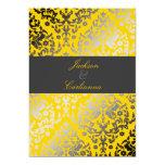 311 Dazzling Damask Yellow | Charcoal Gray Band 5x7 Paper Invitation Card
