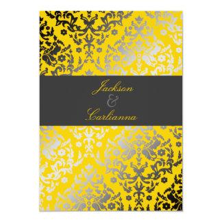 311 Dazzling Damask Yellow | Charcoal Gray Band Card
