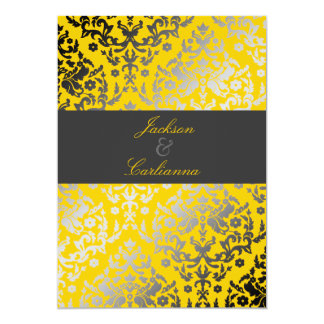 "311 Dazzling Damask Yellow | Charcoal Gray Band 5"" X 7"" Invitation Card"
