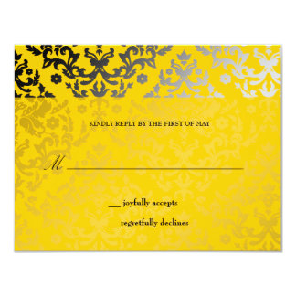 311-Dazzling Damask Yellow Jacket RSVP card