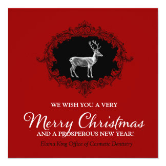 311 Deer Wreath Charcoal Cherry Red Card