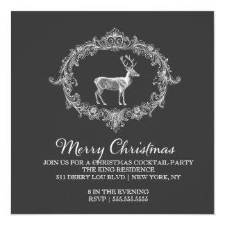 311 Deer Wreath Charcoal Grey Invitation