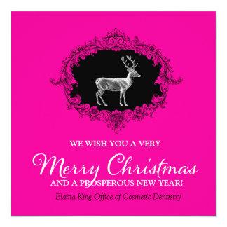 311 Deer Wreath Charcoal Hot Pink Invitation