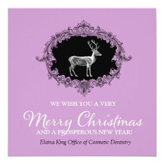 311 Deer Wreath Charcoal Purple Invitation
