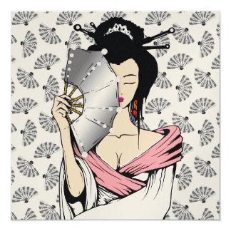 311-Diamond Geisha | Fan Background 5.25x5.25 Square Paper Invitation Card