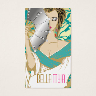 311-Diamond Geisha | Turquoise Gold Business Card