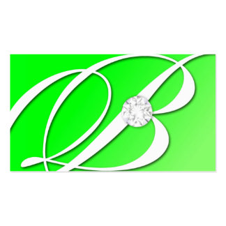 311-Diamond Monogram B - Emerald Green Business Card