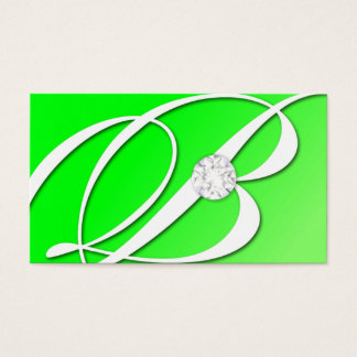 311-Diamond Monogram B - Emerald Green Business Card