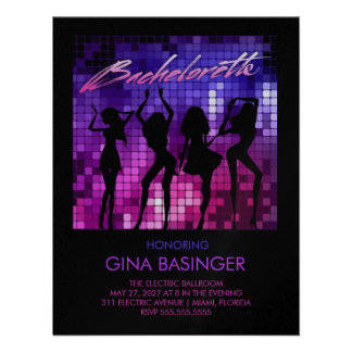 311 Disco Bachelorette Dancing Girls Metallic Personalized Announcement