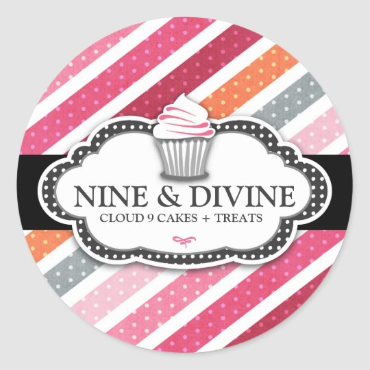 311 Divine Dotted Stripes Cupcakes Classic Round Sticker