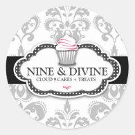 311 Divine Gray White Damask Cupcake Sticker