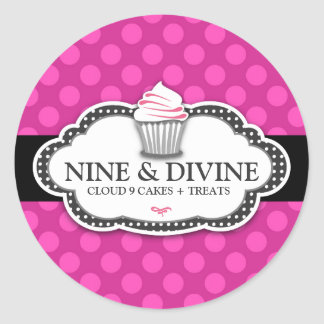 311 Divine Pink Dots Cupcakes Classic Round Sticker