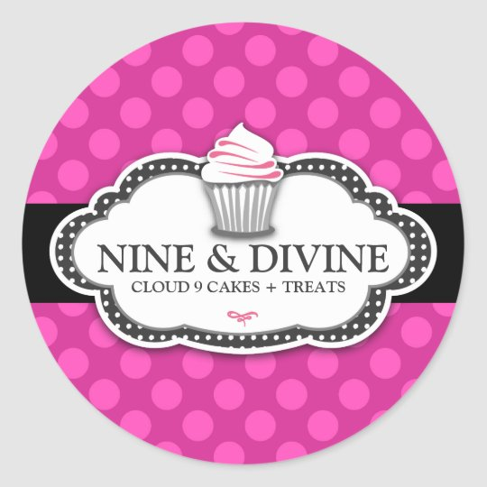 311 Divine Pink Dots Cupcakes Classic Round Sticker