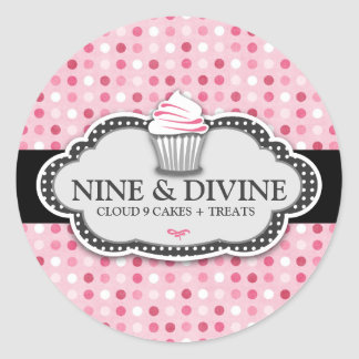 311 Divine Pink Polka Dot Cupcakes Classic Round Sticker