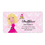 311 Dollface Desserts Blondie Pink Damask Print Personalized Shipping Labels