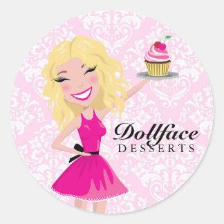 311 Dollface Desserts Blondie Pink Damask Round Stickers