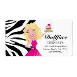 311 Dollface Desserts Blondie Zebra Print Shipping Label