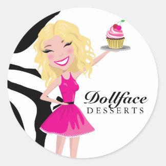 311 Dollface Desserts Blondie Zebra Classic Round Sticker
