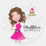311 Dollface Desserts Brownie Damask Round Sticker