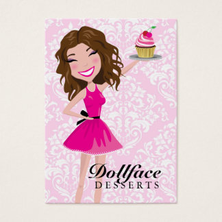 311 Dollface Desserts Brownie Pink Damask 3.5 x 2 Business Card