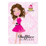 311 Dollface Desserts Brownie Pink Damask 3.5 x 2 Large Business Card