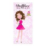 311 Dollface Desserts Brownie Pink Damask Menu Custom Rack Cards