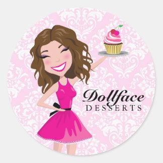 311 Dollface Desserts Brownie Pink Damask Round Stickers