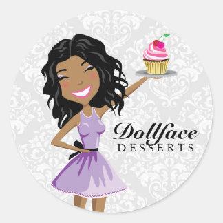311 Dollface Desserts Ebonie Damask Classic Round Sticker