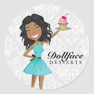 311 Dollface Desserts Ebonie Gift Box Blue Damask Classic Round Sticker
