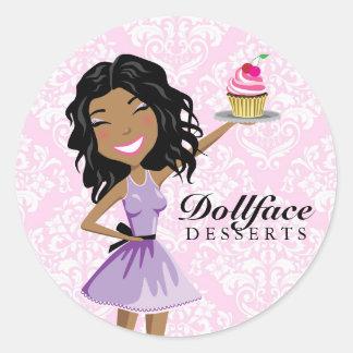 311 Dollface Desserts Ebonie Pink Damask Classic Round Sticker