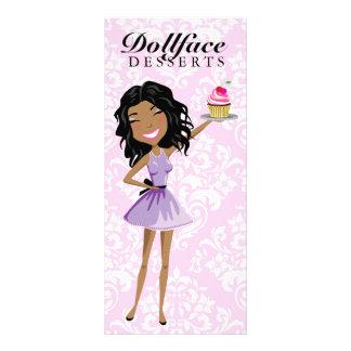 311 Dollface Desserts Ebonie Pink Damask Menu Rack Card