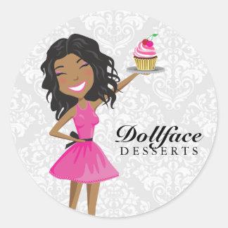 311 Dollface Desserts Hot Pink Ebonie Damask Classic Round Sticker