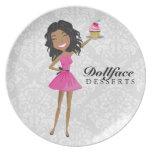 311 Dollface Desserts Hot Pink Ebonie Damask Plate