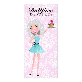 311 Dollface Desserts Ivorie Pink Damask Menu Custom Rack Card