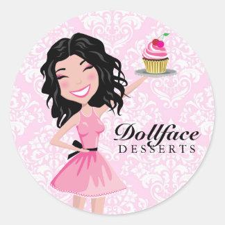 311 Dollface Desserts Kohlie Pink Damask Round Stickers