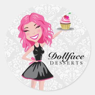 311 Dollface Desserts Pinkie Damask Classic Round Sticker