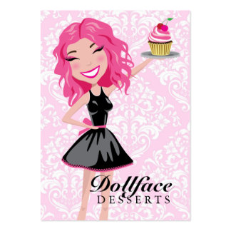 311 Dollface Desserts Pinkie Pink Damask 3.5 x 2 Business Card Template