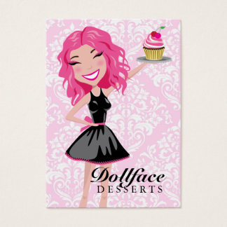 311 Dollface Desserts Pinkie Pink Damask 3.5 x 2 Business Card