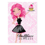 311 Dollface Desserts Pinkie Pink Damask 3.5 x 2 Large Business Cards (Pack Of 100)