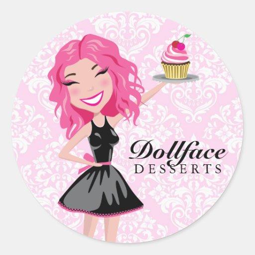 311 Dollface Desserts Pinkie Pink Damask Sticker